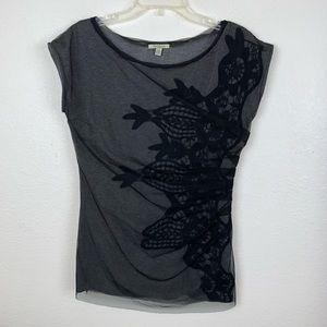 Bordeaux Anthropologie Mesh Overlay Blouse T Shirt